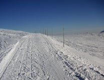 Ανώμαλη να κάνει σκι διαδρομή που μαρκάρεται με τα ξύλινα ραβδιά Στοκ Εικόνα