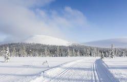 Ανώμαλη να κάνει σκι διαδρομή στο τοπίο βουνών Στοκ εικόνες με δικαίωμα ελεύθερης χρήσης