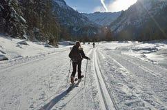 Ανώμαλο να κάνει σκι στην κοιλάδα Marcadau Στοκ Φωτογραφίες