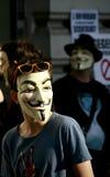 ανώνυμη συνάθροιση τύπων fawkes ενεργών στελεχών Στοκ φωτογραφία με δικαίωμα ελεύθερης χρήσης