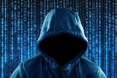 Ανώνυμο με κουκούλα πορτρέτο χάκερ υπολογιστών στοκ εικόνες με δικαίωμα ελεύθερης χρήσης