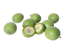 Ανώριμα πράσινα φρούτα ξύλων καρυδιάς Στοκ Εικόνες