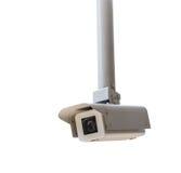 Ανώτατα κρεμώντας κάμερα παρακολούθησης που απομονώνονται Στοκ εικόνα με δικαίωμα ελεύθερης χρήσης
