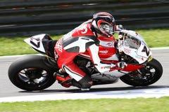 Ανώτατο Neukirchner #27 σε Ducati 1199 Panigale Ρ κ.-που συναγωνίζεται Superbike WSBK Στοκ Φωτογραφία