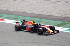 Ανώτατο Verstappen που οδηγεί το Red Bull του σε Monza 2018 στοκ φωτογραφία