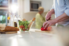 Ανώτερα τέμνοντα λαχανικά ατόμων για τη σαλάτα Στοκ Φωτογραφία