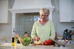Ανώτερα τέμνοντα λαχανικά γυναικών για τη σαλάτα Στοκ εικόνες με δικαίωμα ελεύθερης χρήσης