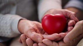 Ανώτερα χέρια ζευγών με την κόκκινη μορφή καρδιών φιλμ μικρού μήκους
