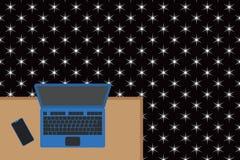 Ανώτερη άποψης γραφείων εργασίας θέσεων πλευρά smartphone γραφείων lap-top ξύλινη Desktop ηλεκτρονικών συσκευών φορητός υπολογιστ απεικόνιση αποθεμάτων