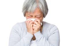 Ανώτερη γυναίκα με την αλλεργία μύτης στοκ εικόνες