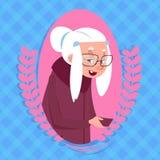 Ανώτερη γυναίκα με τη σύγχρονη κυρία εικονιδίων γιαγιάδων φυσαλίδων συνομιλίας Διανυσματική απεικόνιση