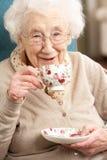 Ανώτερη γυναίκα που απολαμβάνει το φλυτζάνι του τσαγιού στο σπίτι στοκ εικόνα