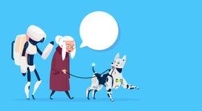 Ανώτερη γυναίκα που περπατά με τη σύγχρονη κυρία γιαγιάδων φυσαλίδων συνομιλίας σκυλιών ρομπότ Απεικόνιση αποθεμάτων