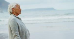 Ανώτερη γυναίκα που περπατά στην παραλία απόθεμα βίντεο