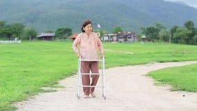 Ανώτερη γυναίκα που χρησιμοποιεί έναν περιπατητή στον τρόπο στο αγρόκτημα απόθεμα βίντεο