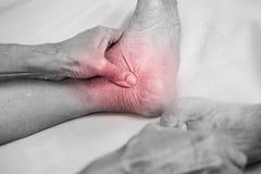 Ανώτερη εκμετάλλευση χεριών ατόμων αυτός υγιές πόδι και να τρίψει τον αστράγαλο στο π Στοκ εικόνες με δικαίωμα ελεύθερης χρήσης