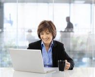 Ανώτερη επιχειρηματίας που χρησιμοποιεί το lap-top Στοκ φωτογραφία με δικαίωμα ελεύθερης χρήσης