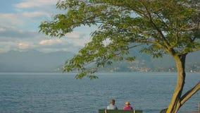 Ανώτερη συνεδρίαση ζευγών κοντά σε μια λίμνη απόθεμα βίντεο