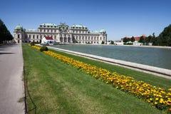 Ανώτεροι παλάτι και κήπος πανοραμικών πυργίσκων στη Βιέννη Στοκ Εικόνες