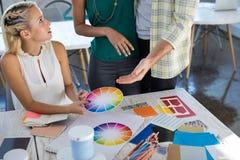 Ανώτεροι υπάλληλοι που εξετάζουν swatch σκιάς χρώματος Στοκ εικόνα με δικαίωμα ελεύθερης χρήσης