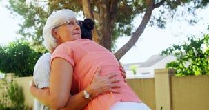 Ανώτεροι φίλοι που αγκαλιάζουν ο ένας τον άλλον 4k απόθεμα βίντεο