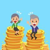 Ανώτερος άνδρας κινούμενων σχεδίων και ανώτερη συνεδρίαση γυναικών στα νομίσματα χρημάτων Στοκ εικόνες με δικαίωμα ελεύθερης χρήσης