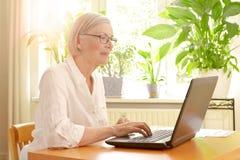Ανώτερος ήλιος lap-top γυναικών ηλιόλουστος Στοκ εικόνα με δικαίωμα ελεύθερης χρήσης