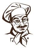 Ανώτερος αρχιμάγειρας που φορά το καπέλο και ομοιόμορφος Λογότυπο σχεδίων χεριών διανυσματική απεικόνιση