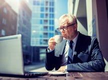 Ανώτερος επιχειρηματίας με τον καφέ κατανάλωσης lap-top στοκ εικόνα με δικαίωμα ελεύθερης χρήσης