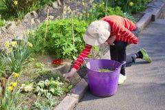 Ανώτερος ηλικιωμένος ενεργός τρόπος ζωής προσώπων στον κήπο κατά τη δ στοκ εικόνες