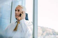 Ανώτερος διευθυντής που χρησιμοποιεί το τηλέφωνο κυττάρων στην αρχή Στοκ Φωτογραφία