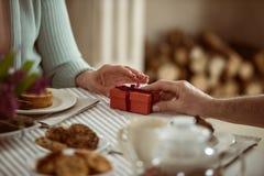 Ανώτερος σύζυγος που παρουσιάζει το κιβώτιο δώρων στη σύζυγό του Στοκ Εικόνα