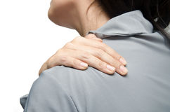 Ανώτερος υπάλληλος γυναικών που έχει το σύνδρομο γραφείων πόνου λαιμών στο άσπρο υπόβαθρο Στοκ Εικόνες