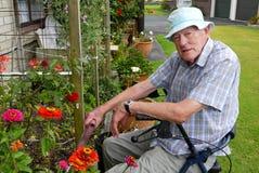 Ανώτερο άτομο: κηπουρική Στοκ Εικόνα