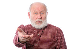 Ανώτερο άτομο που κάνει τις αξιώσεις, που απομονώνονται στο λευκό Στοκ φωτογραφίες με δικαίωμα ελεύθερης χρήσης
