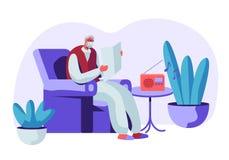 Ανώτερο γκρίζο μαλλιαρό άτομο στα γυαλιά που κάθεται στην εφημερίδα ανάγνωσης πολυθρόνων και τη μουσική ακούσματος στο ραδιόφωνο  διανυσματική απεικόνιση