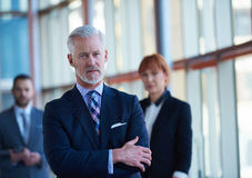 Ανώτερο επιχειρησιακό άτομο με την ομάδα του στο γραφείο Στοκ Φωτογραφίες