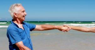 Ανώτερο ζεύγος που έχει το παγωτό στην παραλία απόθεμα βίντεο