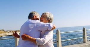 Ανώτερο ζεύγος που αγκαλιάζει το ένα το άλλο κοντά στην παραλία 4k απόθεμα βίντεο