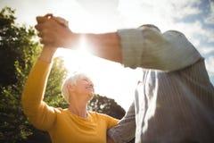Ανώτερο ζεύγος που χορεύει στο πάρκο Στοκ Εικόνες