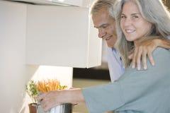 Ανώτερο μαγείρεμα ζευγών στοκ εικόνες με δικαίωμα ελεύθερης χρήσης