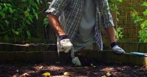 Ανώτερο σκάψιμο ατόμων στο χώμα με το φτυάρι απόθεμα βίντεο