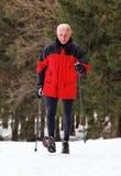 Ανώτερο σκανδιναβικό περπάτημα το χειμώνα στοκ φωτογραφία