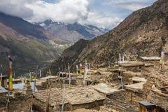 Ανώτερο χωριό Pisang στο οδοιπορικό κυκλωμάτων Annapurna Στοκ φωτογραφία με δικαίωμα ελεύθερης χρήσης