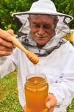 Ανώτερο apiarist που παρουσιάζει το βάζο του φρέσκου μελιού στο μελισσουργείο Στοκ Εικόνα
