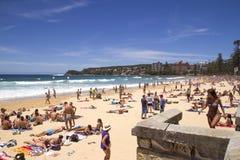 ΑΝΔΡΙΚΟΣ, AUSTALIA- 8 ΔΕΚΕΜΒΡΊΟΥ 2013: Ανδρική παραλία την πολυάσχολη, ηλιόλουστη ημέρα Στοκ Εικόνες
