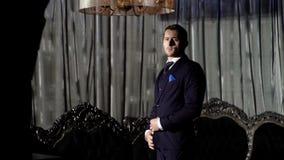 Αξιοσέβαστος νεαρός άνδρας που στέκεται σε ένα δωμάτιο με το κλασικό εσωτερικό Πολυτέλεια Ομορφιά ατόμων, μόδα Προσδιορισμός τρίχ απόθεμα βίντεο