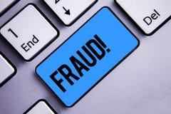 Απάτη κειμένων γραψίματος λέξης κινητήρια κλήση Επιχειρησιακή έννοια για την εγκληματική εξαπάτηση για να πάρει το οικονομικό ή π Στοκ Εικόνες