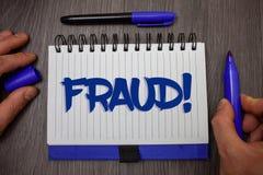 Απάτη κειμένων γραψίματος λέξης κινητήρια κλήση Επιχειρησιακή έννοια για την εγκληματική εξαπάτηση για να πάρει την οικονομική ή  Στοκ Εικόνα