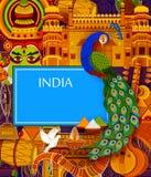 Απίστευτο υπόβαθρο της Ινδίας που απεικονίζει τον ινδικούς ζωηρόχρωμους πολιτισμό και τη θρησκεία απεικόνιση αποθεμάτων